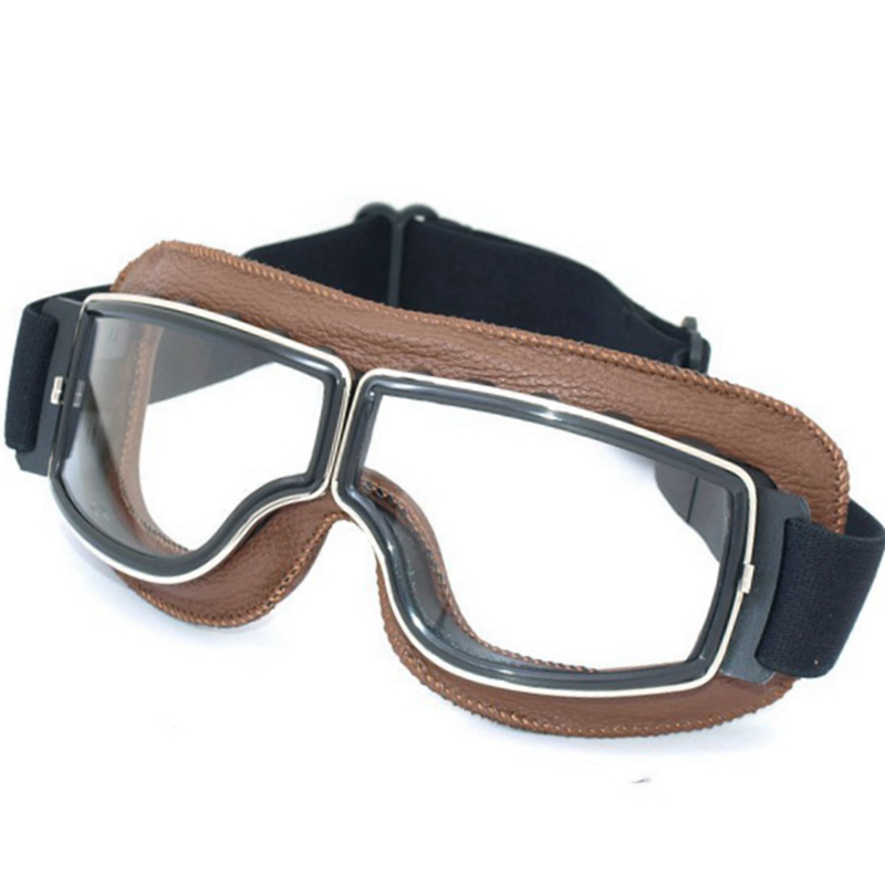 Aviator Pilot Cruiser Cycling Bicycle Motorcycle Goggles Glasses Eyewear Brown Frame Genuine Leather Clear lens