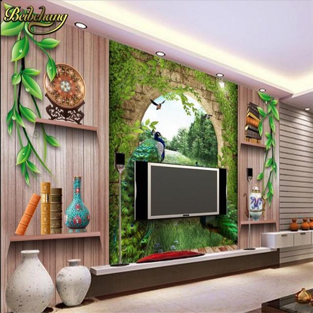 Beibehang Benutzerdefinierte Papel De Parede 3D Foto Tapete Schlafzimmer  Wohnzimmer Hintergrund Malerei Römischen Säule Pfau Wandtapete