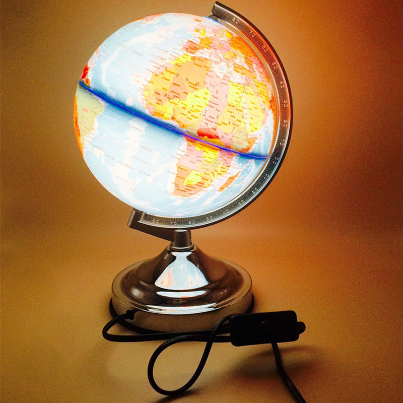20cm LED Tellurion Globe Table Night Light Home Office School Lamp Child's Gift Metal Base Four Modes World Globe Map Decoration кабель питания orient c908 2xsata y 0 16 м