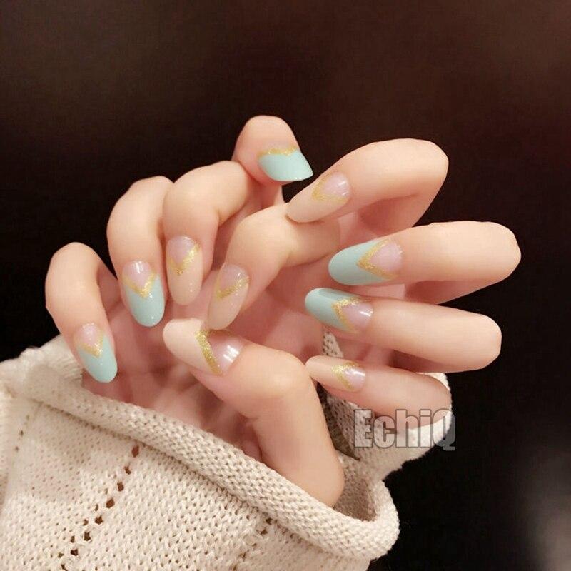 V Shape Fake French Nails Oval Medium Acrylic Nails Full Wrap Lady ...