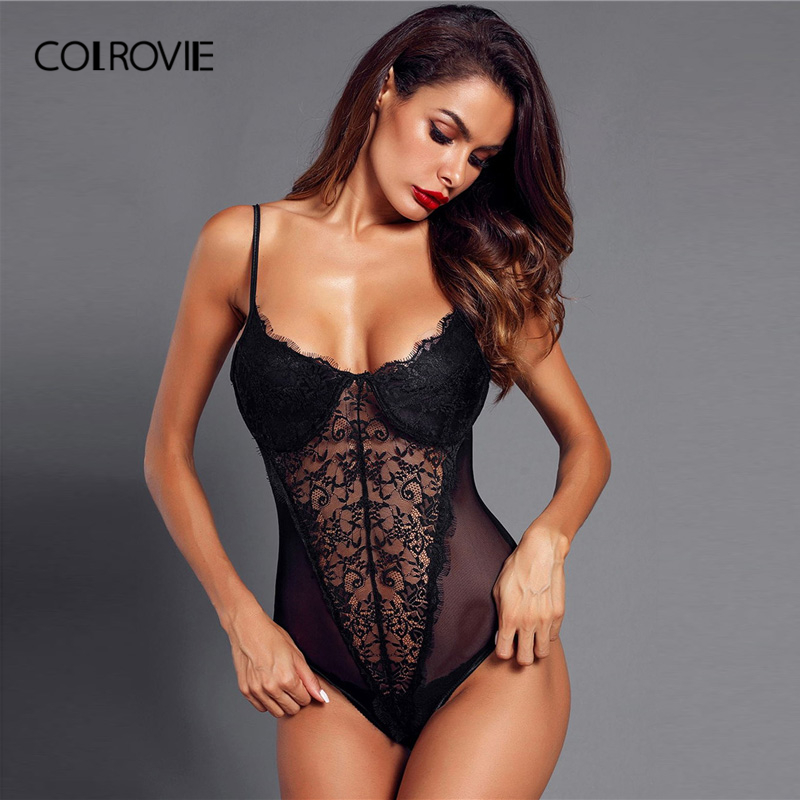 COLROVIE Black Eyelash Lace And Mesh Teddy Bodysuit Lingerie Women 2019 Sexy Sleeveless See Through Onesies Pajama Sleepwear
