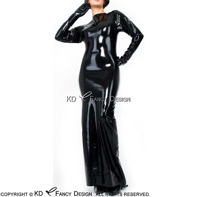 91a380354 Detail Feedback Questions about Black Long Sleeves Sexy Latex Dress With  High Collar Zipper Back Rubber Dress Bodycon Playsuit LYQ 0042 on  Aliexpress.com ...