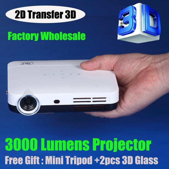 Portable 3000 Lumens Dlp Projector Pocket Mini Full Hd Smart 2d Convert 0 5kg Theater Gl Free