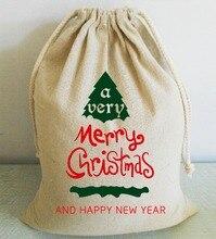 Popular Christmas Tree Design Custom Merry Christmas and Happy New Year Santa Sack Party Supplies Home Decor Xmas Gift Holders