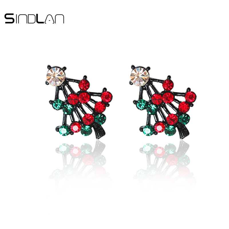 Sindlan Earrings Fashion Christmas Jewelery Charm Crystal Rhinestones Cute Pines Christmas Tree Stud Earrings For women