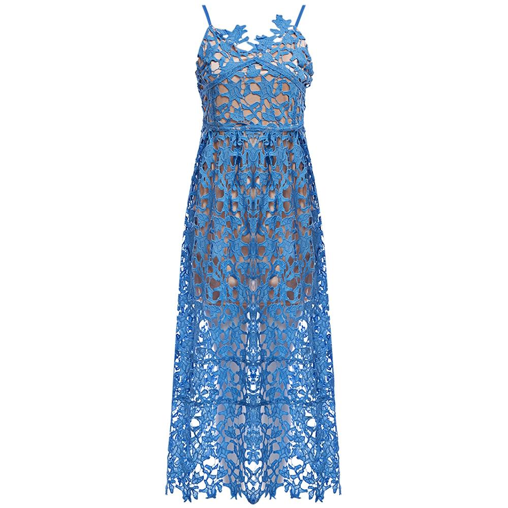 VESTLINDA Spaghetti Strap Backless Hollow Out Crochet Lace Dress Women Vestidos Mujer Robe Femme 2017 Summer Sexy Maxi Dress 2