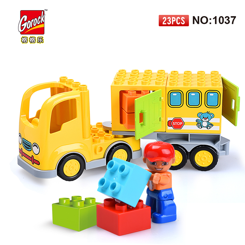 GOROCK 1037 Big Building Blocks Model Set 23Pcs children Educational Bricks Toys For Toy Gift For Baby Compatible With Duploe sytopia fire station fire police children building blocks big size educational toy for baby kid gift toy compatible with duploe