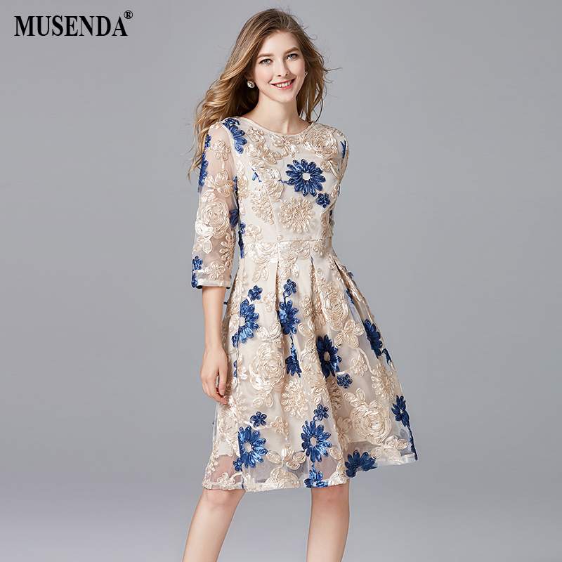 US $32.73 |MUSENDA Plus Size Women Embroidery Lace Tunic Draped Dress New  Spring Autumn Female Ladies Elegant Vintage Party Dresses-in Dresses from  ...