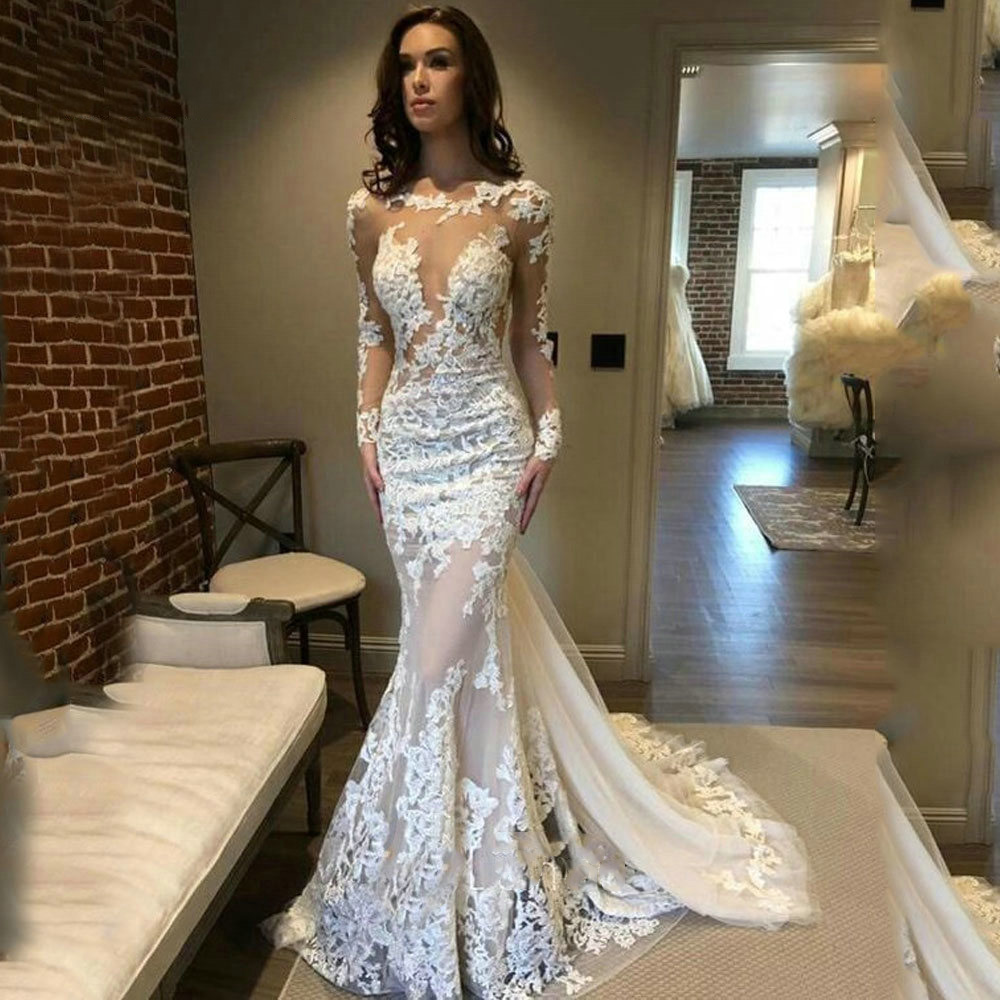 Lace Mermaid Wedding Dress With Sheer Long Sleeve Court Train Sexy Open Back Tulle Bridal Gown Vestido De Noiva in Wedding Dresses from Weddings Events