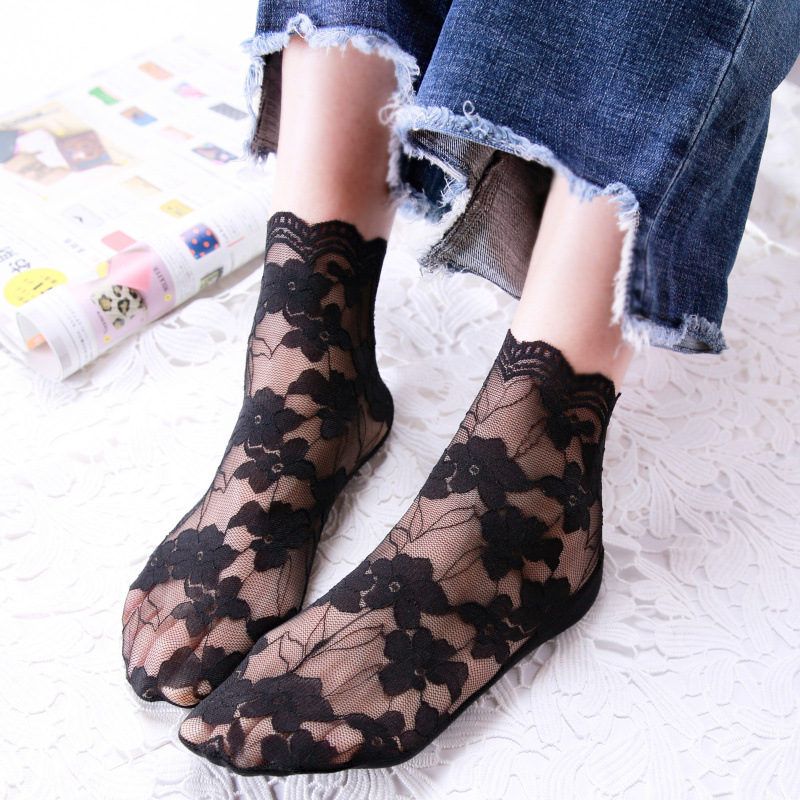 1 Pair Women Fashion   Socks   2019 Spring Summer Mesh Cotton Breathable   Socks   Solid Lace Thin Casual Women Fashion Lady   Socks