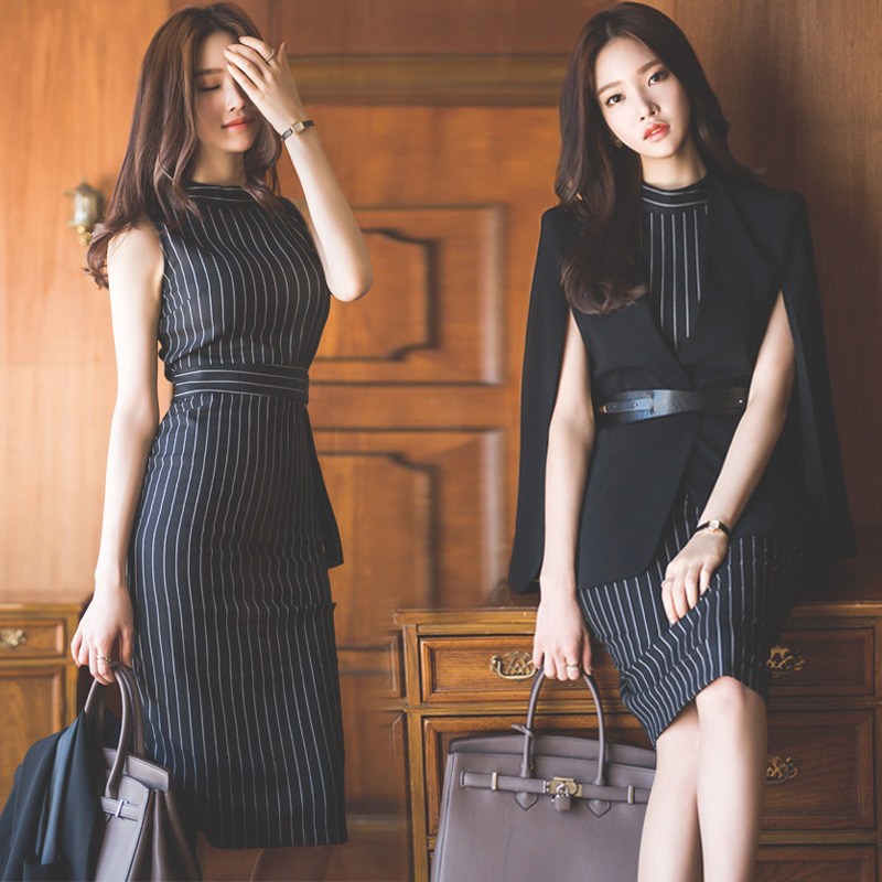 2 piece Women Dress New Arrival Spring Bandage Sexy Party Bodycon Vintage Vestidos Dresses 2018 Slim black stripe Midi dress цена