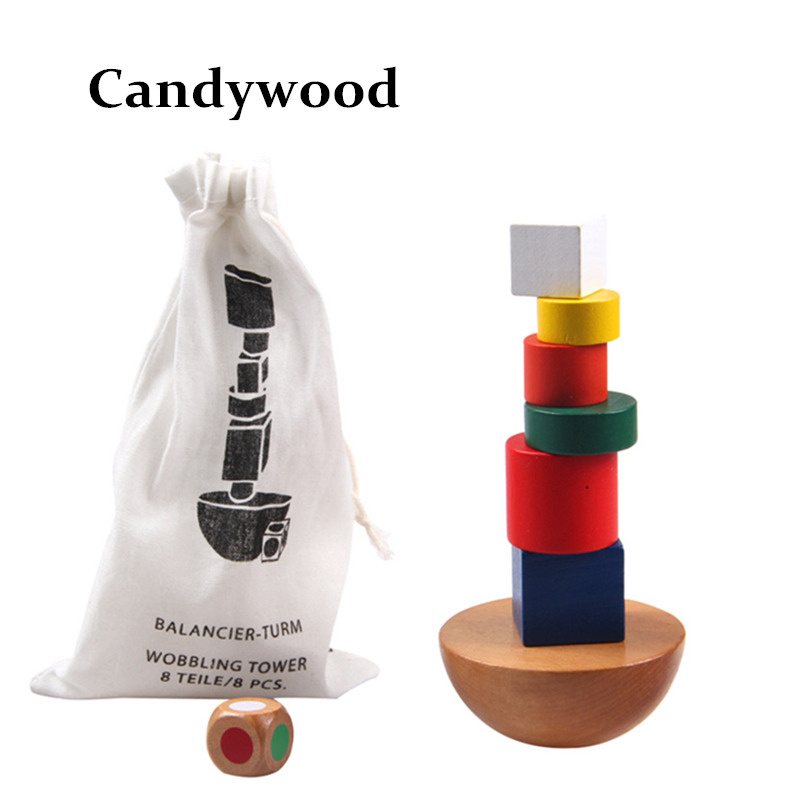 Wooden Geometric Blocks kids Balancing Game toys Montessori Learning Educational Toys For Children Family Game wooden snail balance toy building blocks children early educational toys montessori clown training balancing toys kids game gift