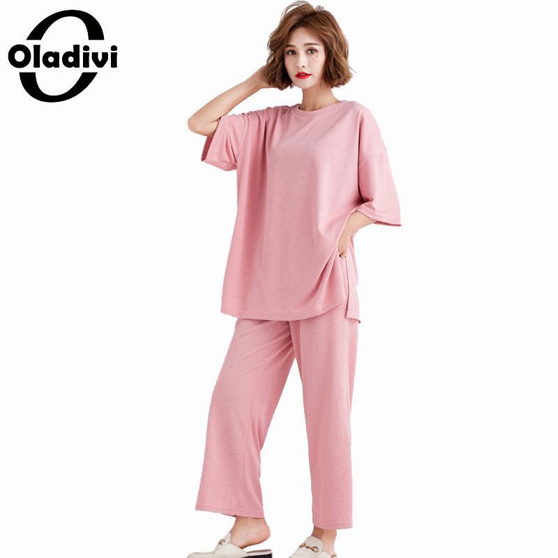 Oladivi плюс размер женский спортивный костюм топ брюки наборы женские летние 2019 Новые повседневные свободные футболки брюки костюмы из двух п