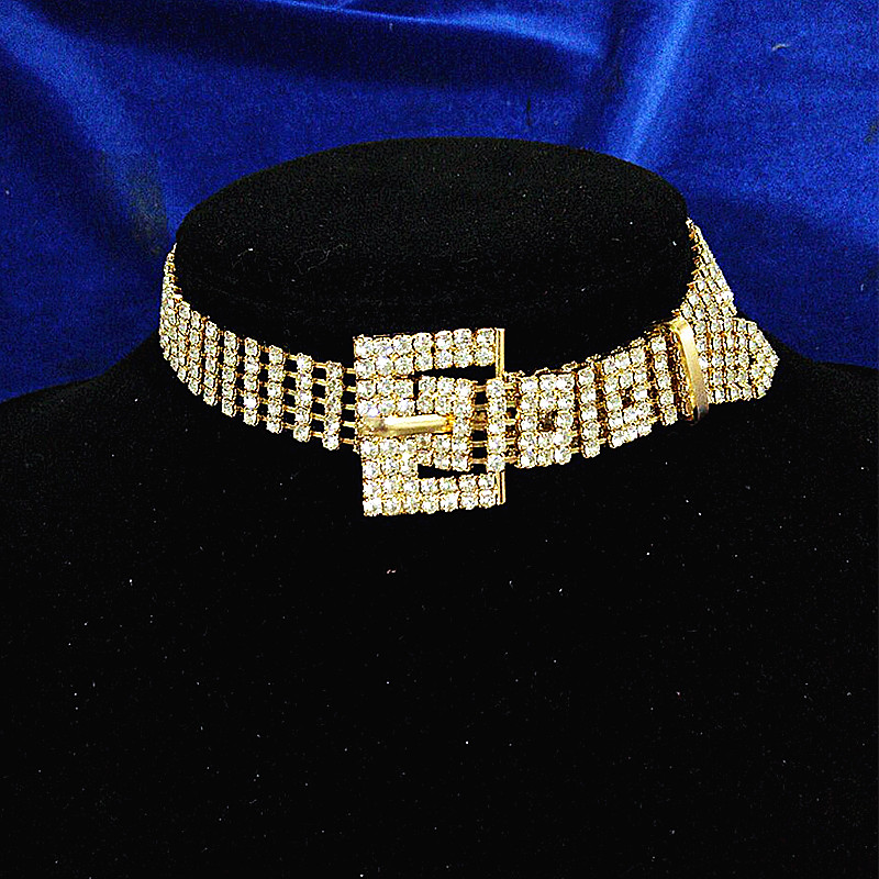 Wedding bridal bling full rhinestone crystal choker necklace for women luxury unique belt buckle collars jewelry ladies collier