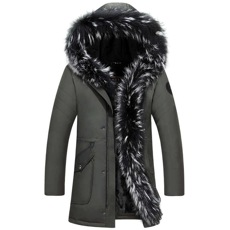 Chaqueta de invierno 2018 gruesa cálida informal X-Long blanco pato abajo abrigos con capucha Natural mapache-35 grado Outwear