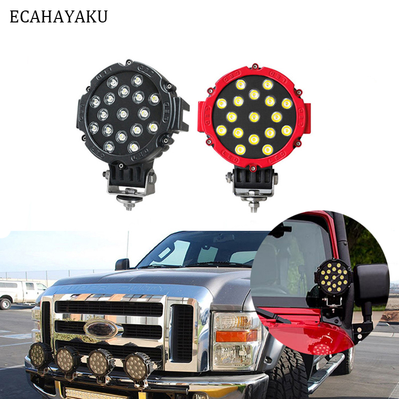 ECAHAYAKU 1Pcs 51W 7Inch Round Led Light 6000K 3570LM IP67 Spot Flood Driving Work Light for