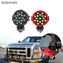 ECAHAYAKU 1Pcs 51W 7Inch Round Led Light 6000K 3570LM IP67 Spot Flood Driving Work Light for