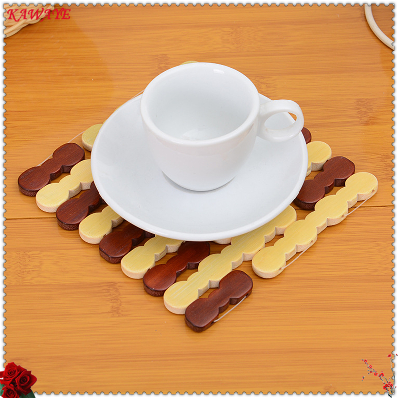 3 pcs 16cm Round Bamboo Placemat Insulation Pads Against Hot Desk Table Mats Coasters Hollow Wooden Pot Cup Mat 6ZKC047