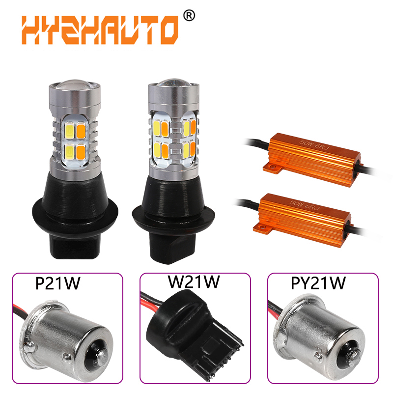 HYZHAUTO 2Pc 1156 P21W <font><b>PY21W</b></font> <font><b>LED</b></font> <font><b>Canbus</b></font> Bulbs Dual Color T20 7440 W21W <font><b>LED</b></font> Car Turn Signal Lights DRL No Hyper Flash 5630 20 SMD image