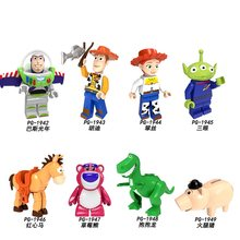 Legoed Toy Story Minifigured Memompa Series Buzz Lightyear Woody Jessie Alien Rex Hamm Bangunan Blok Mainan untuk Anak-anak PG8222(China)