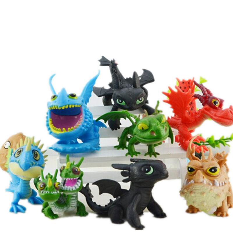 8pcs How To Train Your Dragon 2 Toys Action Figures Night Fury Toothless PVC Dragon Children Brinquedos Kids Toys Juguetes how to train your dragon 2 dragon toothless night fury action figure pvc doll 4 styles 25 37cm free shipping retail