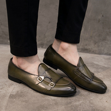 Yomior Split Leather Pointed Toe New Design Men Dress Shoes