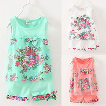 2016 Newest Baby Kids Girls Summer Flower Vest Bow Floral Sleeveless Tops T-shirt+Shorts Pants Tulle 2pcs Outfit Set 2019