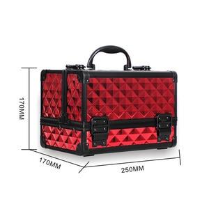 Image 2 - Yüksek Kaliteli Alüminyum alaşımlı çerçeve Makyaj Organizatör Kadınlar Kozmetik Durumda Ayna Ile Seyahat Büyük Kapasiteli saklama kutusu Bavul