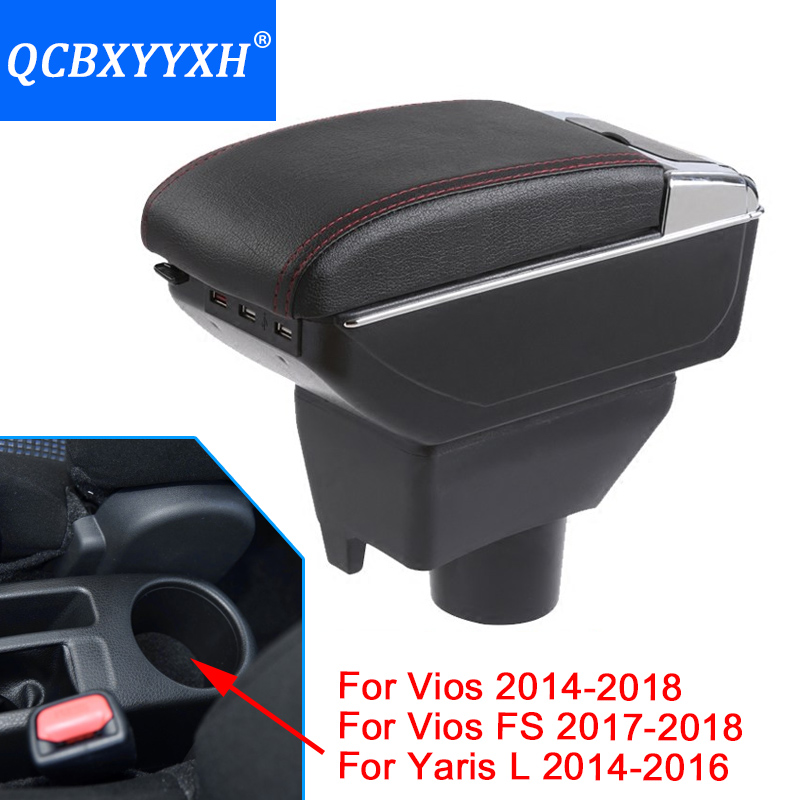 Car-styling For Toyota Yaris L New Vios FS Armrest Box Central Store Content Storage Box With Cup Holder Ashtray Interface qcbxyyxh for chevrolet sail 3 armrest central store content storage box with cup holder ashtray abs leather accessory 2015 2018