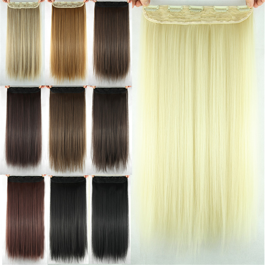 Feibin Clip In Hair Extension Syntetisk Hårstycke Lång 60cm 24 - Syntetiskt hår - Foto 3