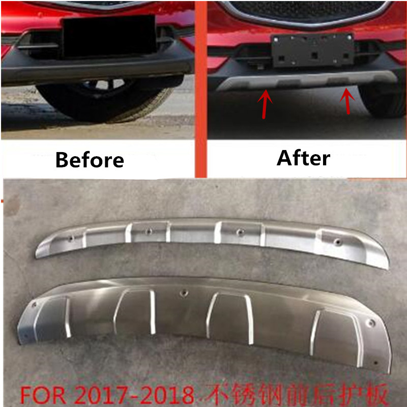 Auto parts modeling Stainless Steel Front + Rear Bumper Diffuser Protector Guard Skid Plate For New MAZDA CX-5 CX5 2017 2018Auto parts modeling Stainless Steel Front + Rear Bumper Diffuser Protector Guard Skid Plate For New MAZDA CX-5 CX5 2017 2018