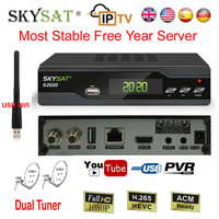 SKYSAT S2020 H.265 Duall Tuner DVB S2 Satellite Receiver 3G Wifi IPTV most stable Year server SD Channels IKS SKS ACM Receptor