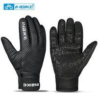 109 Black-INBIKE Touch Screen WinterWindproof Warm Full Finger Cycling Gloves