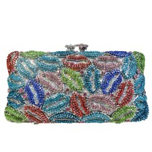 Fashion Women Luxury Crystal Clutches Evening Bag Colourful Wedding Clutch Purse Diamonds Party Handbags With Chain