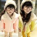 Бесплатная доставка Зима новая девушка шерсти ягнят большой лацкане XieJin молния хлопка ватник детская одежда