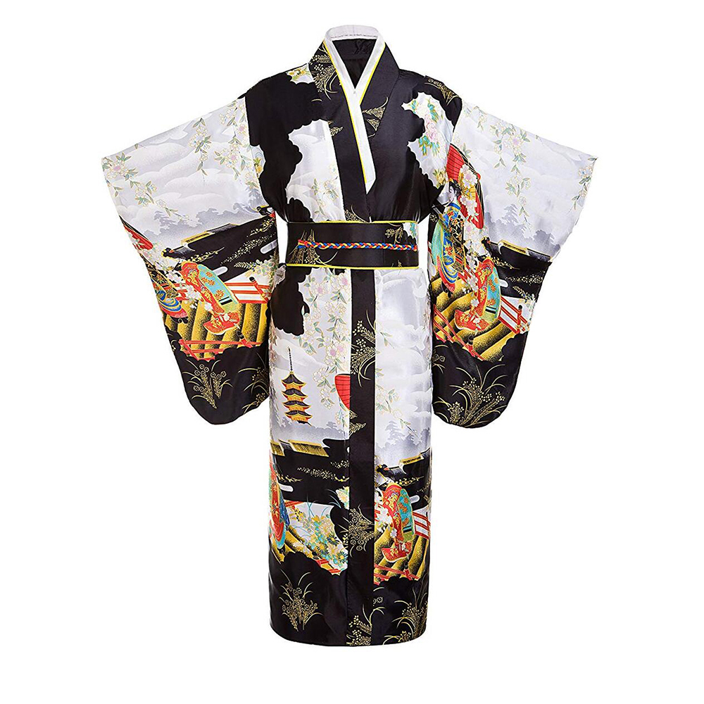 Black Women Lady Japanese Tradition Yukata Kimono Bath Robe Gown With Obi Flower Vintage Evening Party Dress Cosplay Costume