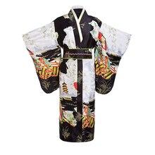 Black women Lady Japanese Tradition Yukata Kimono Bath Robe Gown With Obi Flower Vintage Evening Party Dress Cosplay Costume