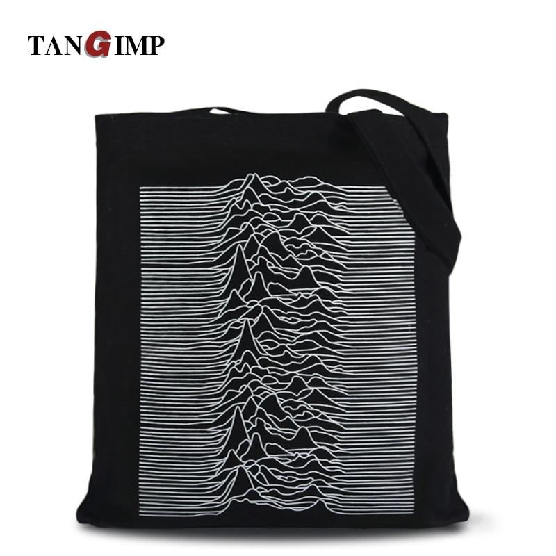 TANGIMP Canvas Shopping Handbags Post-Punk Pulsar Waveform Big Eco Women Shoulder Bags Tote einkaufstasche bolsa compra 2018