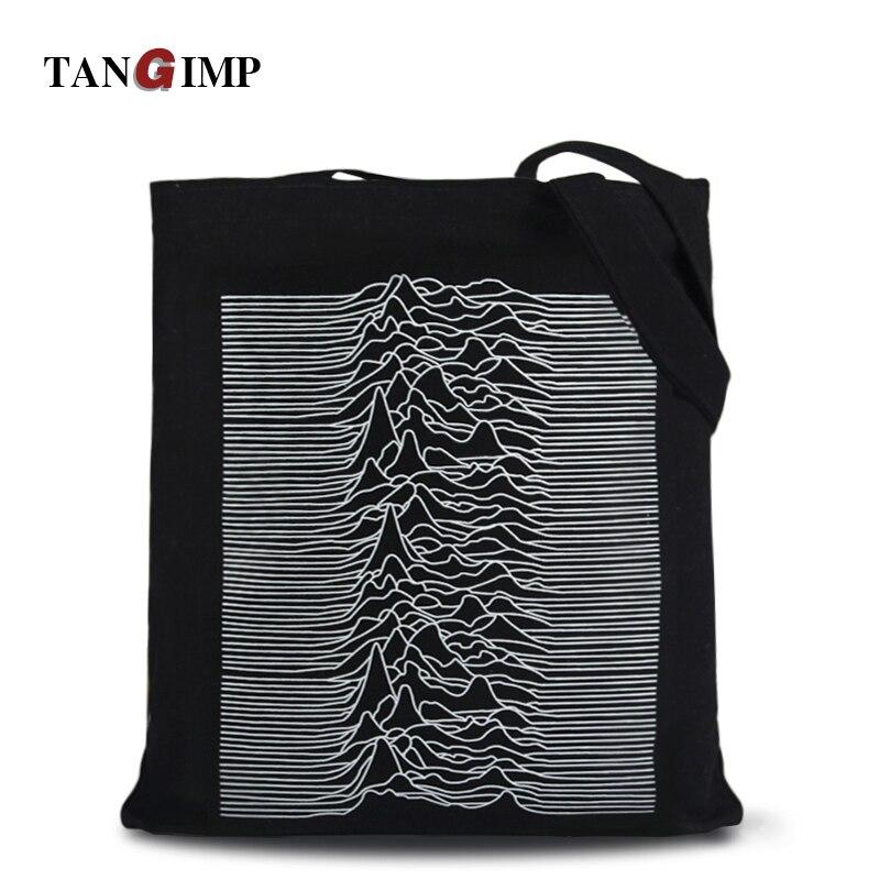 TANGIMP Post-Punk Pulsar Waveform Canvas Shopping Handbags Big Eco Women Shoulde
