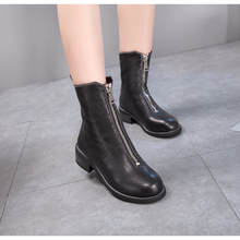 Centenary Fall / winter leather front zip female martin boots Genuine Leather  women shoes Chelsea Boots womens