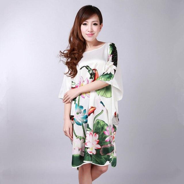 White Chinese Women s Silk Rayon Robe Summer Lounge Nightdress Sleepwear  Kimono Yukata Bathrobe Gown Pijama Plus Size A119-in Robes from Women s ... 9689f8928