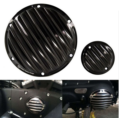 Good Quality All Black Harley Cover With Logo CNC Deep Cut Derby Timing Timer Covers fits for Harley Sportster 883 1200 XL black cnc cut air cleaner trim cover for harley iron 883 sportster xl883r xl1200