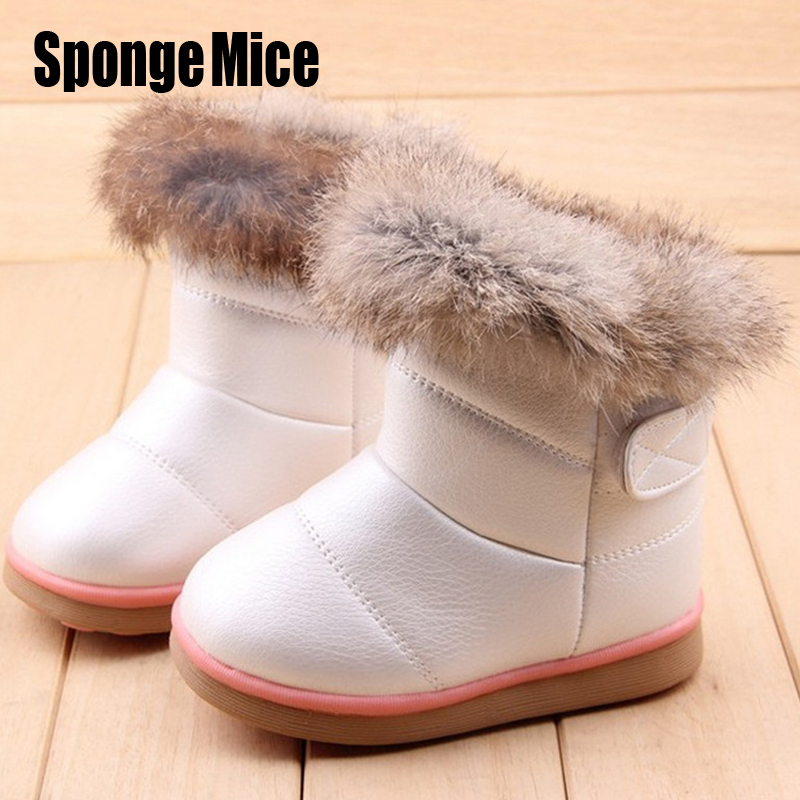Girls Snow Boots 2017 Winter Warm Wool Cloth With Soft Nap Of Rabbit Hair Children Snow Boots Kids Shoes For Girls Boots EU21-30