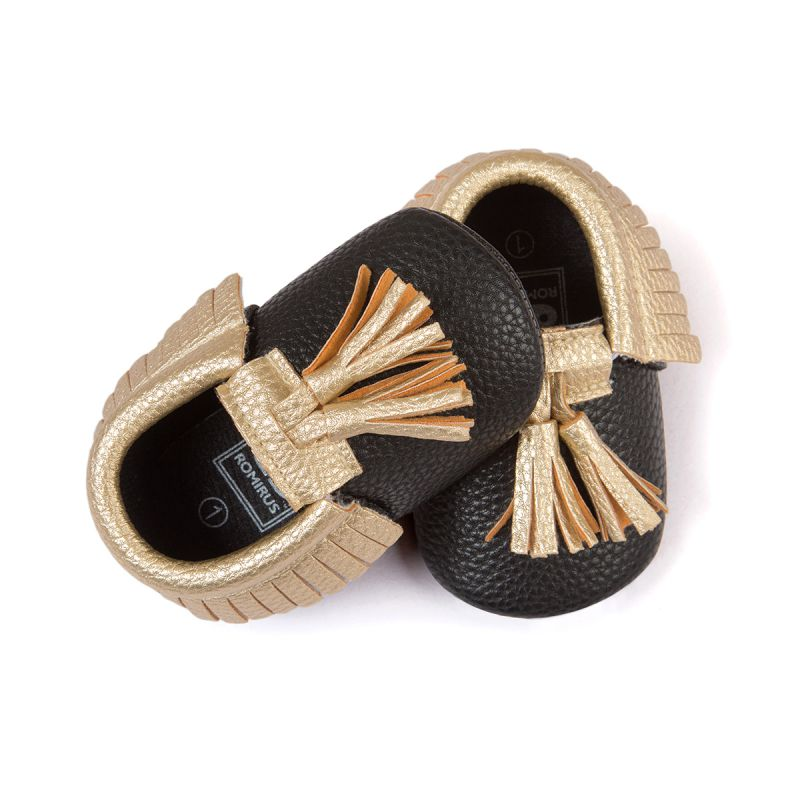 Купить с кэшбэком Kacakid Baby Shoes PU Suede Leather Newborn Baby Boy Girl Moccasins Soft Shoes Fringe Soft Soled Non-slip Crib First Walkers