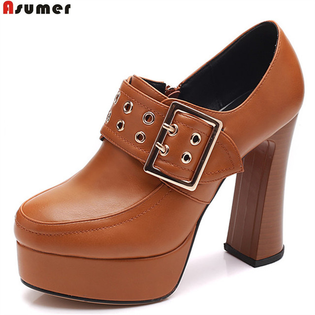 7d377211e15 ASUMER black brown fashion spring autumn shoes woman round toe zip platform  thick heel women high heels shoes big size 32 42-in Women's Pumps from ...
