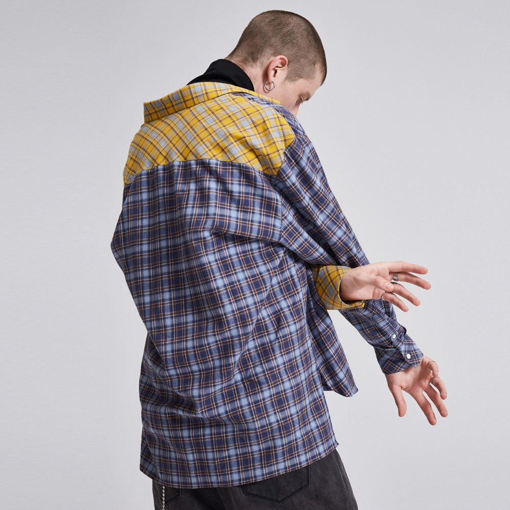 Mode Hop Lilbetter Plaid La Casual Streetwears Chemises Color Mixed Hip Contraste Couleur Hommes À E8nqqWrUF