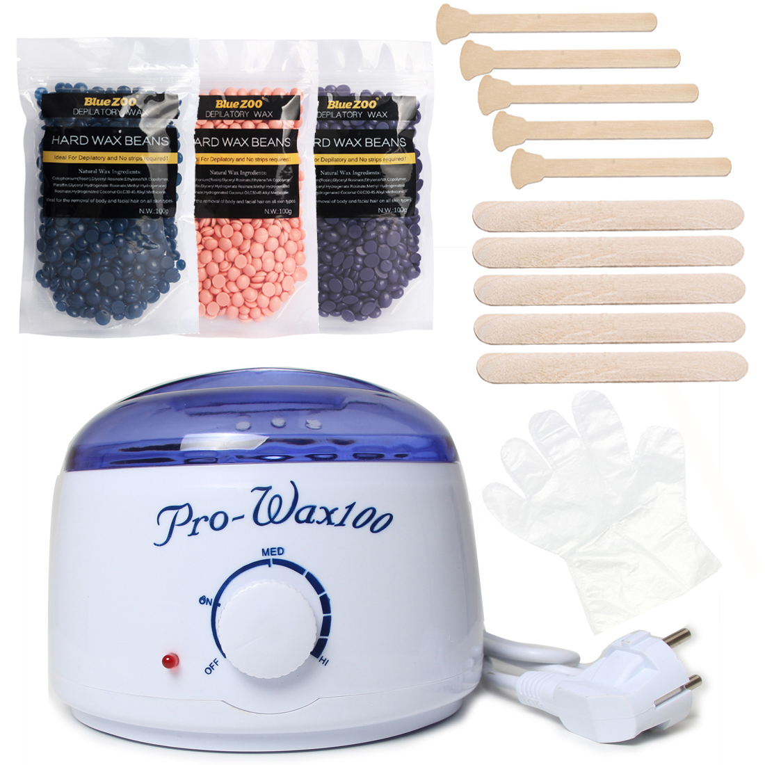 Wax Heater Machine Depilatory Hard Wax Beans Set Hair Removal Wax Warmer Pot 3 Bag Wax Beans + 10 Wood Spatulas + 10 Gloves depilatory wax warmer hard wax beans hair removal black wax machine 250g natural beans for beauty spa epilation