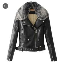 22472bac94 MISS M Women's Thicken Fluffy Faux Leather Fur Coat Autumn And Winter Faux  Fur Lining Leather Jacket Aviator Short Jacket Female