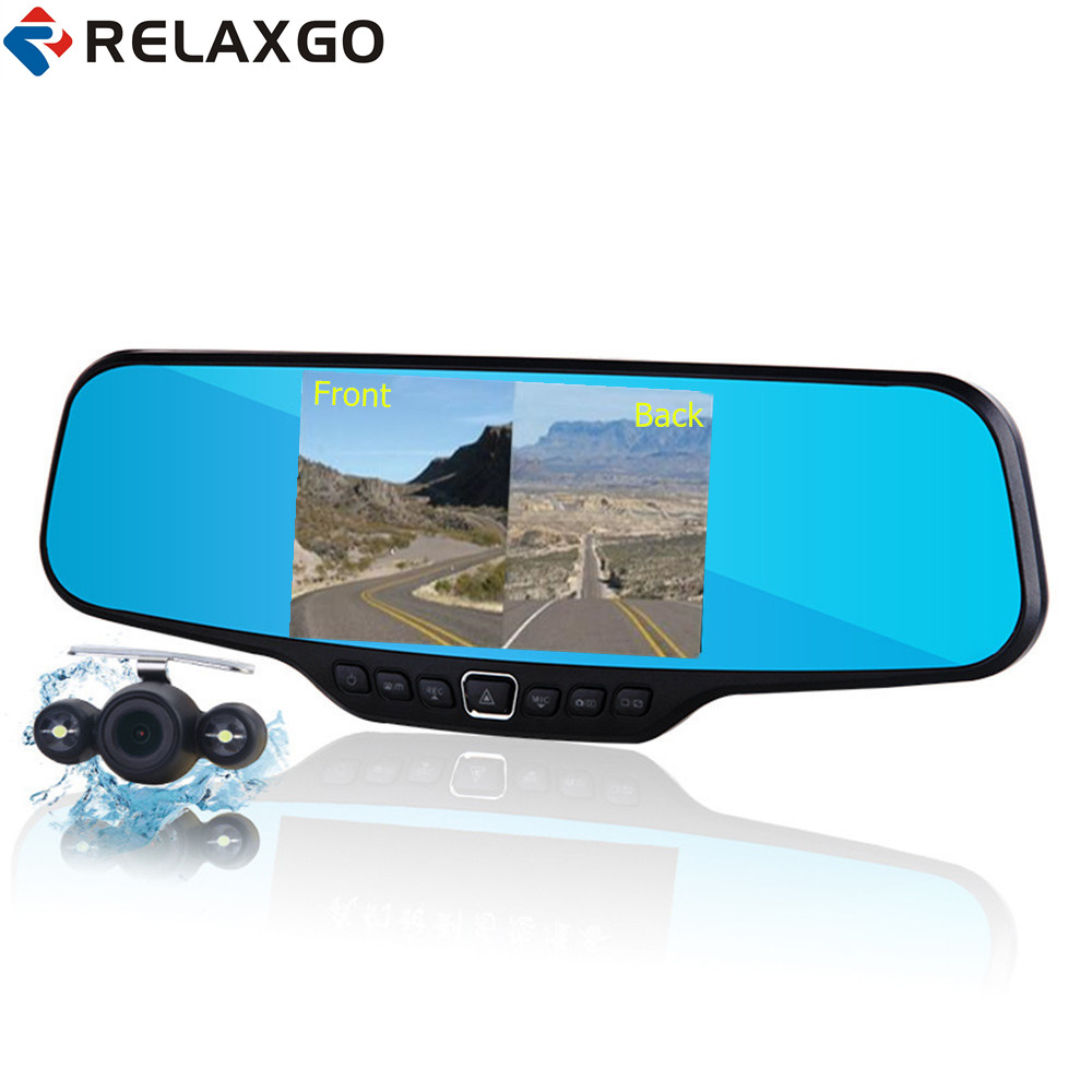 Relaxgo 4.3 Car Rearview Mirror DVR Full HD 1080P Car Camera Parking Night Vision Car DVR Dual Camera Video Recorder Black Box dual lens car rearview mirror dvr video recorder camcorder night vision 4 3 inch allwinner a10 2x140 degree wide angle