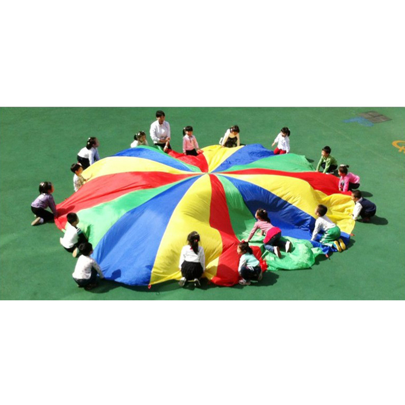 5m Big Rainbow Umbrella Parachute Development Outdoor Toys Sport Games Jump-sack Ballute Play Parachute Sport Toy Tool For Kids 1 8 3 5m outdoor toy rainbow umbrella parachute sensory toys for children kid playing outside traning cooperate outdoor games